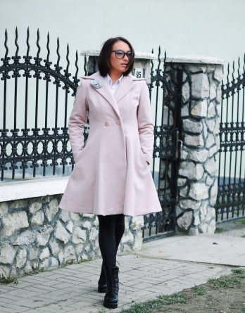 Palton roz de dama Orchid din materiale premium