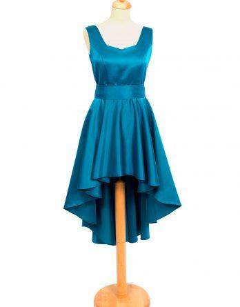 rochie midi din tafta turcoaz cu decolteu inimioara