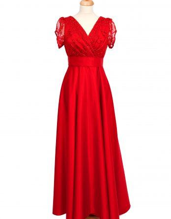 rochie lunga din tafta rosie cu dantela si manecute cu pliuri din dantela