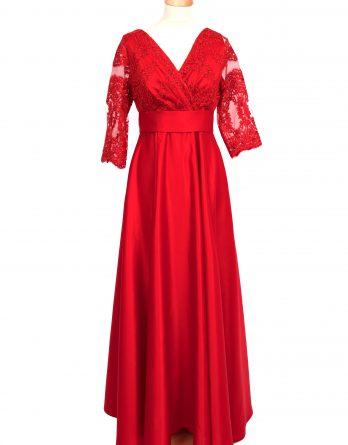 rochie lunga din tafta ROSIE cu dantela si manecute cu pliuri