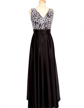 rochie lunga din tafta neagra cu dantela alba