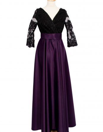 rochie lunga din tafta MOV cu dantela NEAGRA si manecute cu pliuri