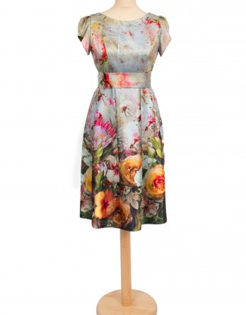 rochie scurta din tafta cu manecute CU IMPRIMEU