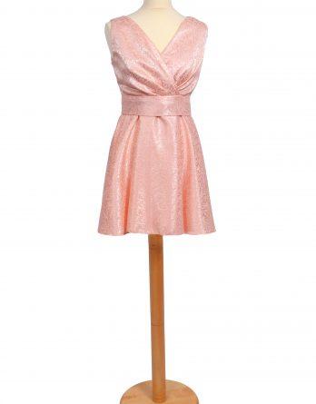 rochie scurta din brocard cu pliuri roz